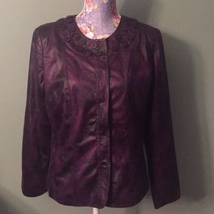 NWT Chicos Size 1 Purple Jacket pebbled perfection
